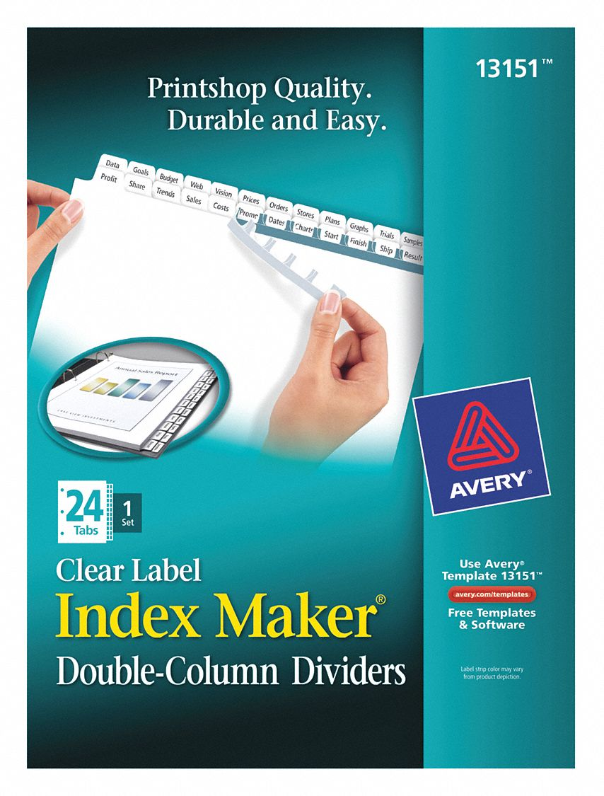 Binder Divider with 24 Print-On Labels, White 1 to 24 Tabs, 8 1/2 in x 11 in