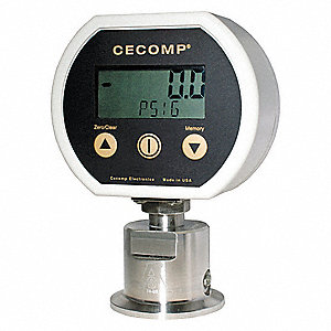 "0 to 300 psig Digital Sanitary Pressure Gauge, 3"" Dial, 1-1/2"" Triclamp Connection, Plastic"