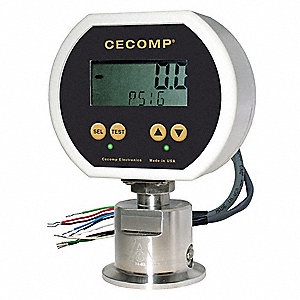 "0 to 100 psig Digital Sanitary Pressure Gauge with Transmitter, 3"" Dial, 2"" Triclamp Connection, Pla"