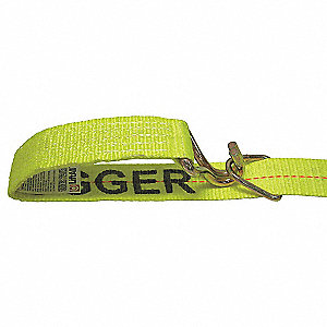 "Tie Down Strap, 27 ft.L x 2""W, 1600 lb. Load Limit, Adjustment: Ratchet"