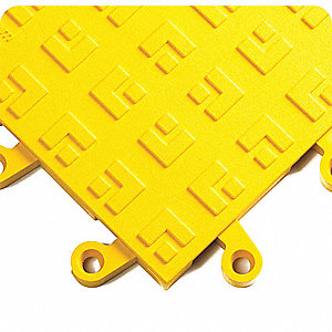 Interlocking Antifatigue Mat, PVC, Yellow, 10 PK