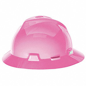 Full Brim Hard Hat, 4 pt. Pinlock Suspension, Hot Pink, Hat Size: 6-1/2 to 8