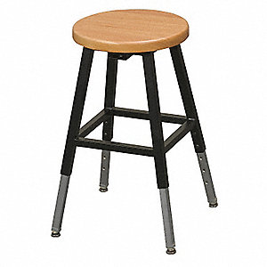"Round Stool with 18-1/4"" to 29-1/4"" Seat Height Range and 300 lb. Weight Capacity, Oak"