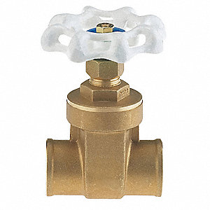 "Solder Gate Valve, Inlet to Outlet Length: 3-7/32"", Pipe Size: 1-1/2"", Max. Fluid Temp.: 200°F"