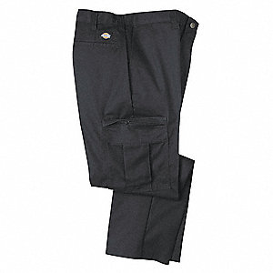 "Men's Industrial Cargo Pants, Polyester/Cotton Twill, Color: Black, Fits Waist Size: 38"" x 30"""