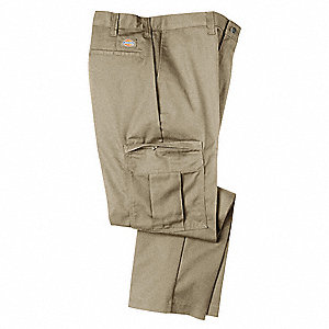 "Men's Industrial Cargo Pants, Polyester/Cotton Twill, Color: Khaki, Fits Waist Size: 34"" x 34"""