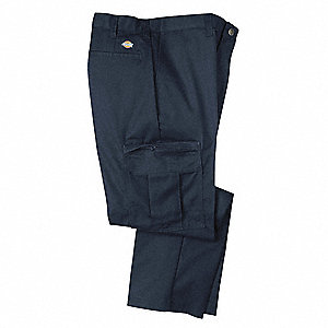 "Men's Industrial Cargo Pants, Polyester/Cotton Twill, Color: Navy, Fits Waist Size: 36"" x 34"""