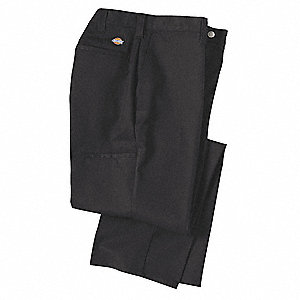 "Men's Industrial Work Pants, Polyester/Cotton Twill, Color: Black, Fits Waist Size: 40"" x 30"""