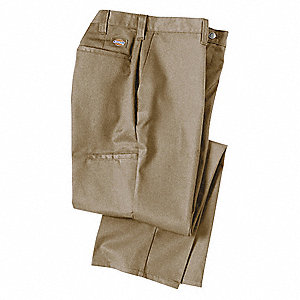 "Men's Industrial Work Pants, Polyester/Cotton Twill, Color: Khaki, Fits Waist Size: 34"" x 34"""