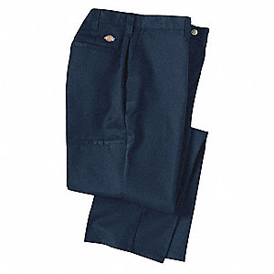 "Men's Industrial Work Pants, Polyester/Cotton Twill, Color: Navy, Fits Waist Size: 32"" x 30"""