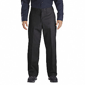 "Men's Industrial Work Pants, Polyester/Cotton Twill, Color: Black, Fits Waist Size: 42"" x 32"""