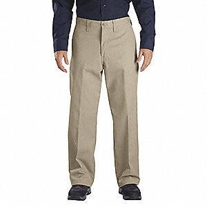 "Men's Industrial Work Pants, Polyester/Cotton Twill, Color: Desert Sand, Fits Waist Size: 42"" x 34"""