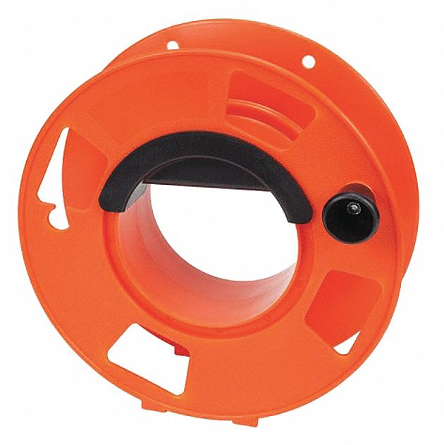 Cord Storage Reel,  Hand Operated,  100 ft of 14/3 Cord, 100 ft of 16/3, 50 ft of 12/3 Cord,  Orange