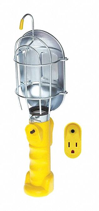 Incandescent Hand Lamp, 75 W Lamp Watts, 25 ft Cord Length, Yellow, Includes Hook