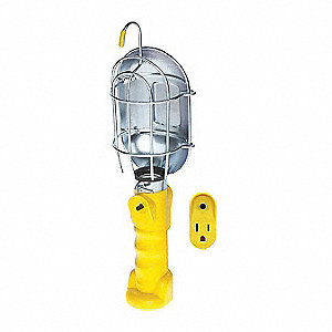 Incandescent Hand Lamp, 75 Lamp Watts, 25 ft. Cord Length, Yellow, Includes Hook