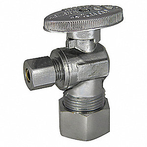 Chrome Angle Supply Stop, Compression Inlet Type, 250 psi