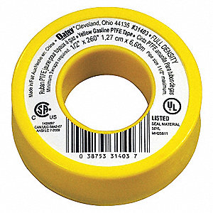 "1/2""W PTFE Pipe Thread Sealant Tape, Yellow, 260"" Length"