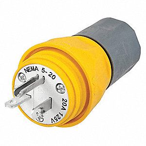 Watertight Straight Blade Plug, 20 Amps, 125VAC Voltage, NEMA Configuration: 5-20P, Number of Poles:
