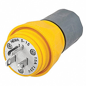 Watertight Straight Blade Plug, 15 Amps, 125VAC Voltage, NEMA Configuration: 5-15P, Number of Poles: