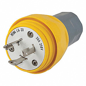 20A Industrial Grade Non-Shrouded Watertight Locking Plug, Yellow; NEMA Configuration: L6-20P
