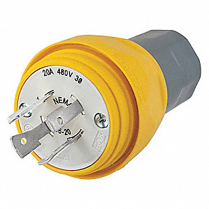 20A Industrial Grade Non-Shrouded Watertight Locking Plug, Yellow; NEMA Configuration: L16-20P