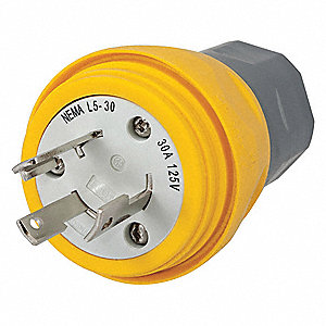 30A Industrial Grade Non-Shrouded Watertight Locking Plug, Yellow; NEMA Configuration: L5-30P