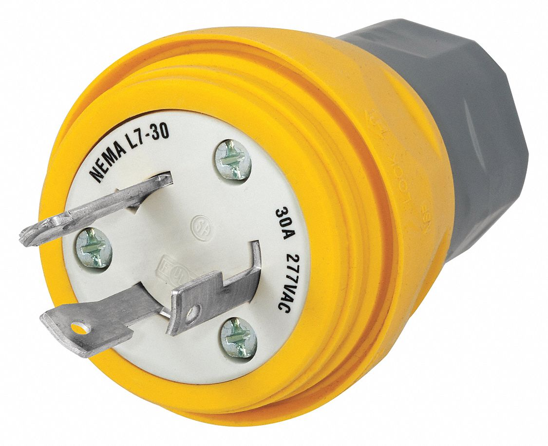 Hubbell Wiring Device Kellems 30a Industrial Grade Non Shrouded 277vac Watertight Locking Plug Yellow Nema Configuration L7 30p 39aw48 Hbl28w49 Grainger