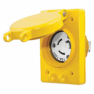 Yellow Watertight Locking Receptacle, 15 Amps, 125VAC Voltage, NEMA Configuration: L5-15R