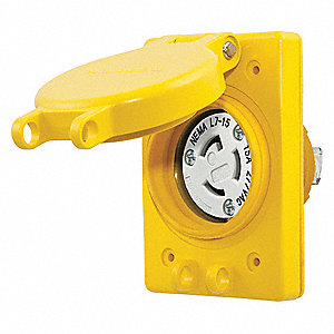 Yellow Watertight Locking Receptacle, 15 Amps, 277VAC Voltage, NEMA Configuration: L7-15R