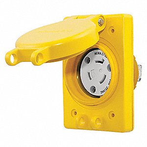 Yellow Watertight Locking Receptacle, 20 Amps, 277VAC Voltage, NEMA Configuration: L7-20R