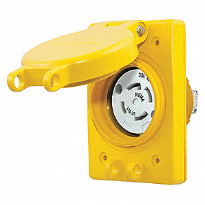 Yellow Watertight Locking Receptacle, 30 Amps, 480VAC Voltage, NEMA Configuration: L16-30R