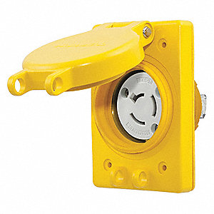 Yellow Watertight Locking Receptacle, 20 Amps, 125/250VAC Voltage, NEMA Configuration: Non-NEMA