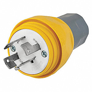 20A Industrial Grade Non-Shrouded Watertight Locking Plug, Yellow; NEMA Configuration: Non-NEMA, 20A