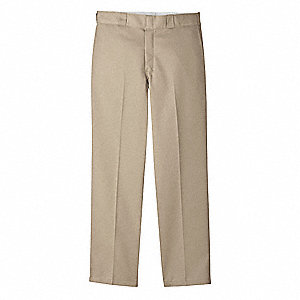 "Men's Work Pants, Polyester/Cotton Twill, Color: Khaki, Fits Waist Size: 32"" x 34"""