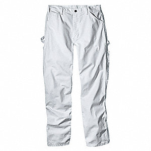 "Men's Painter's Pants, Cotton Drill, Color: White, Fits Waist Size: 34"" x 34"""