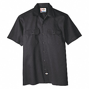Short Sleeve Work Shirt, Twill, Black, 3X