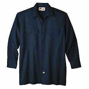 Long Sleeve Work Shirt,Twill,Navy,L