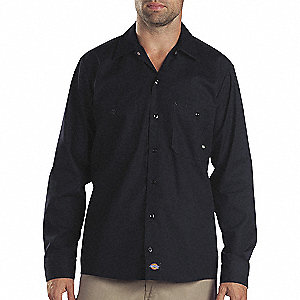 Long Slv Indstrl Shirt,Poplin,Black,4X