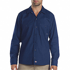 Long Slv Indstrl Shirt,Poplin,Navy,2XT