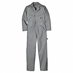 Long Sleeve Coveralls,Cotton,Gray,XL
