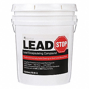 White Lead Encapsulant Coating, Eggshell Finish, 125 sq. ft. per Gallon Coverage, Size: 5 gal.