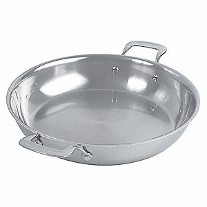 Stainless Steel Gratin Paella Pan&#x3b; Capacity (Qt.): 4