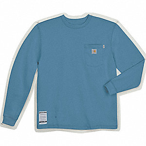 "Medium Blue Flame-Resistant Crewneck Shirt, Size: XL, Fits Chest Size: 46"" to 48"", 8.9 cal./cm2 ATPV"