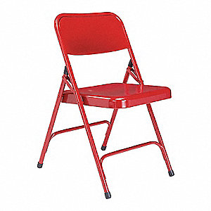 Red Steel Folding Chair with Red Seat Color, 4PK