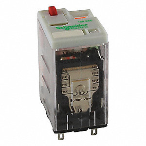 Plug-In Relay, 8 Pins, Square Base Type, 12A @ 277VAC/30VDC Contact Rating, 24VAC Coil Volts