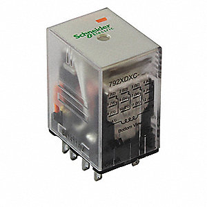 24VDC, 14-Pin Square Base General Purpose Plug-In Relay; AC Contact Rating: 3A @ 277V