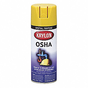 OSHA Spray Paint in Gloss Safety Yellow for Iron, Metal, Paper, Wood, 12 oz.