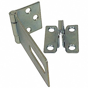 "Conventional Fixed Staple Hasp, 13/16""H x 1-1/2""W x 4-1/2""L, Zinc Plated Finish"