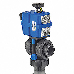 "CPVC Electronic Actuated Ball Valve, 1-1/2"" Pipe Size, 85-240VAC/VDC Voltage"