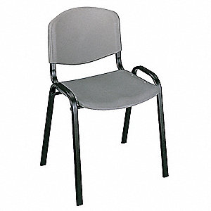 Black Steel Stacking Chair with Charcoal Seat Color, 4PK